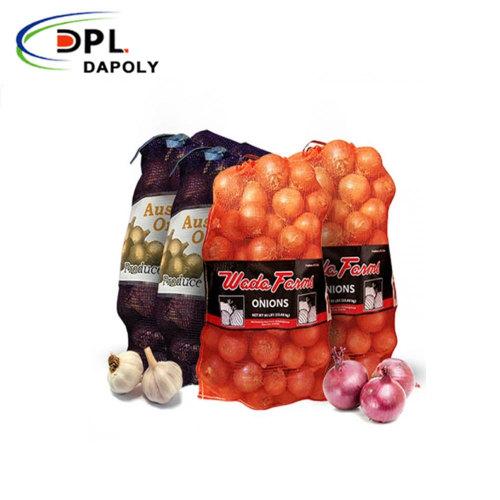 Custom Size PP PE Drawstring Vegetable Packing Onions Leno Mesh Bags