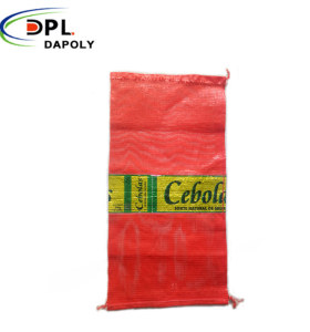 Custom Size PP PE Drawstring Vegetable Packing Onions Leno Mesh Bags