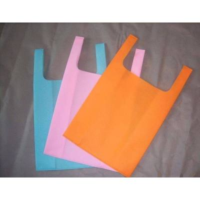 Colorful Ultrasonic Heat Seal Vest type shopping bags non woven bag with handle