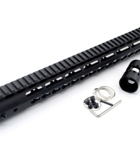 New NSR 15 Inch Length Free Floating Black KeyMod AR15 Handguard With Rail Mount Steel Barrel Nut
