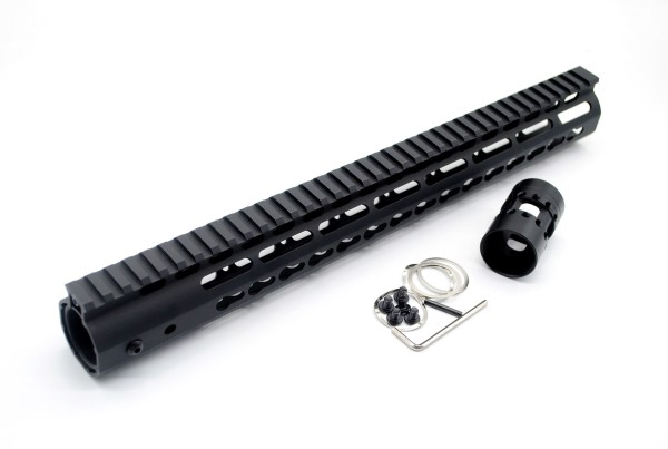 NSR 15 Inch Length Free Floating Black KeyMod AR15 slim Handguard With Rail Mount Steel Barrel Nut