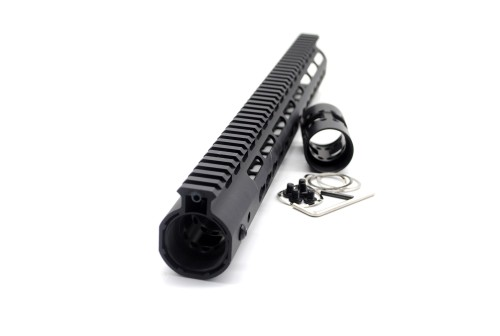 NSR 15 Inch Length Free Floating Black KeyMod AR15 slim Handguard With Rail Mount Steel Barrel Nut