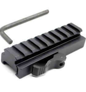 Tactical QD Detachable 20mm Picatinny Rail Low Profile Riser 9 Slots QR Block Mount