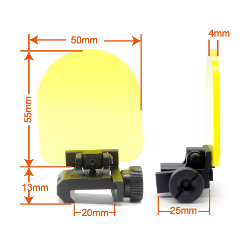 Foldable Airsoft Sight Scope Lens Screen Protector with Cover Shield Rail Mount