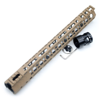 Aplus NSR style TAN/FDE 13.5 inches M-LOK free float AR15 handguard mlok bevel edge fits .223/5.56 rifles with steel barrel nut