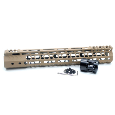 Aplus NSR style TAN/FDE 12 inches M-LOK free float AR15 handguard mlok bevel edge fits .223/5.56 rifles with steel barrel nut