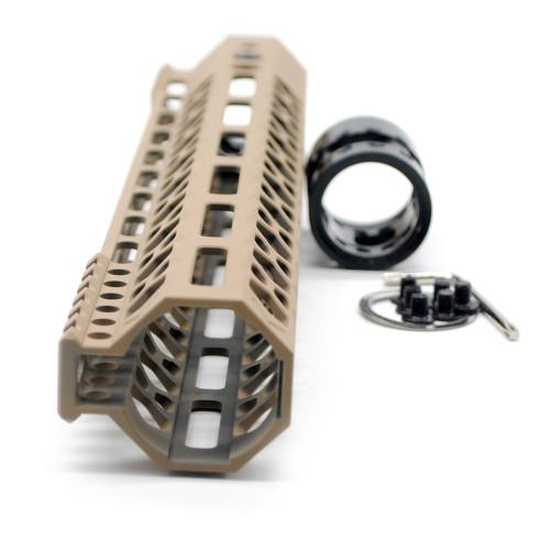 Aplus NSR style TAN/FDE 12 inches M-LOK free float AR15 handguard mlok bevel edge fits .223/5.56 rifles with steel barrel nut