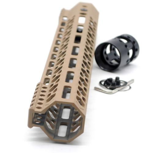 Aplus NSR style TAN/FDE 13.5 inches M-LOK free float AR15 handguard mlok bevel edge fits .223/5.56 rifles with steel barrel nut