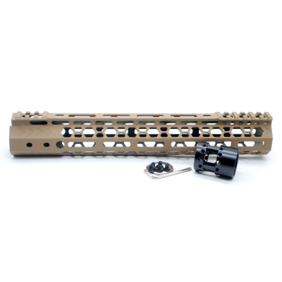 Aplus NSR style TAN/FDE 10 inches M-LOK free float AR15 handguard mlok bevel edge fits .223/5.56 rifles with steel barrel nut