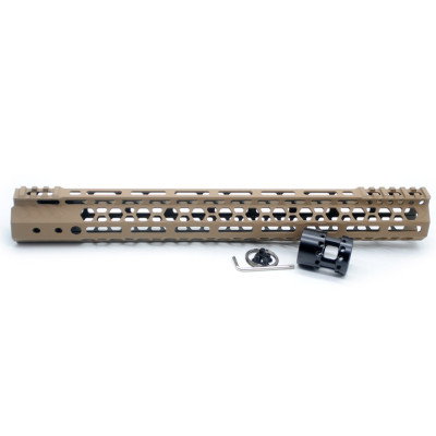 Aplus NSR style TAN/FDE 15 inches M-LOK free float AR15 handguard mlok bevel edge fits .223/5.56 rifles with steel barrel nut