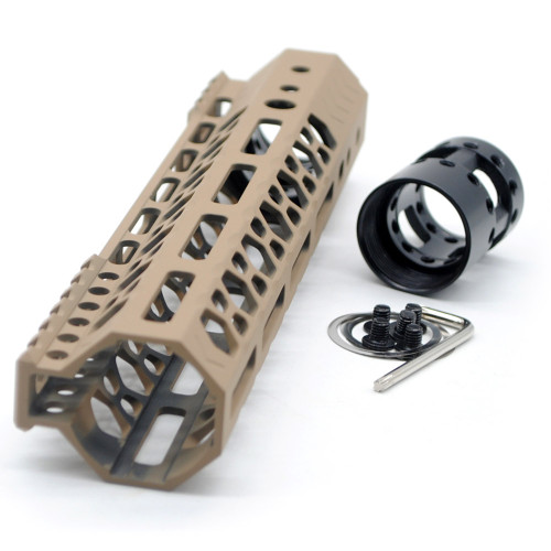 Aplus NSR style TAN/FDE 9 inches M-LOK free float AR15 handguard mlok bevel edge fits .223/5.56 rifles with steel barrel nut