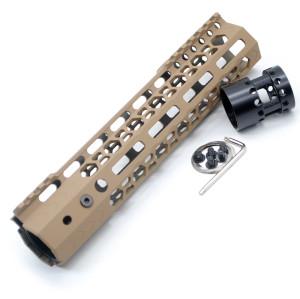 Aplus NSR style TAN/FDE 9 inches M-LOK free float AR15 handguard mlok bevel edge fits .223/5.56 rifles with steel barrel nut