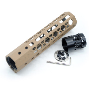 Aplus NSR style TAN/FDE 7 inches M-LOK free float AR15 handguard mlok bevel edge fits .223/5.56 rifles with steel barrel nut