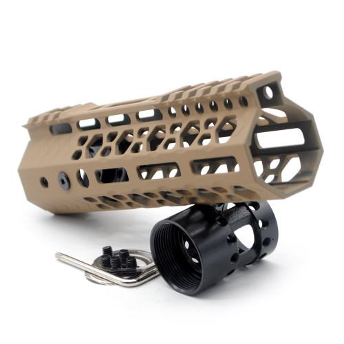 Aplus NSR style TAN/FDE 7 inches M-LOK free float AR15 handguard mlok bevel edge fits .223/5.56 rifles with steel barrel nut