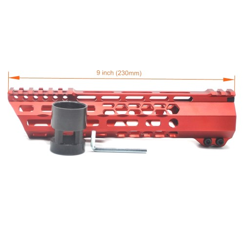 New Clamp style 9 inches red M-LOK free float AR15 M16 M4 rifle handguard with a curve slant cut nose fit .223/5.56 rifles