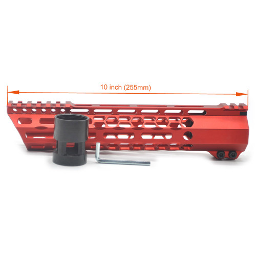 New Clamp style 10 inches red M-LOK free float AR15 M16 M4 rifle handguard with a curve slant cut nose fit .223/5.56 rifles