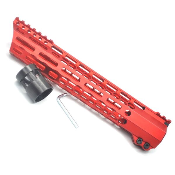 New Clamp style 11 inches red M-LOK free float AR15 M16 M4 rifle handguard with a curve slant cut nose fit .223/5.56 rifles