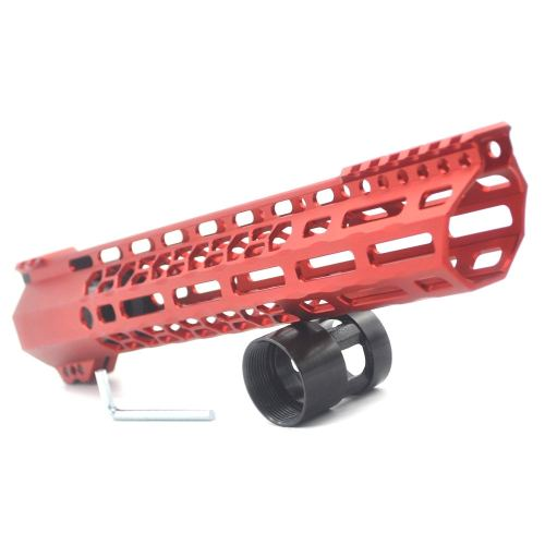 New Clamp style 12 inches red M-LOK free float AR15 M16 M4 rifle handguard with a curve slant cut nose fit .223/5.56 rifles