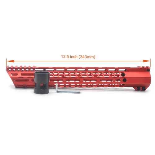 New Clamp style 13.5 inches red M-LOK free float AR15 M16 M4 rifle handguard with a curve slant cut nose fit .223/5.56 rifles