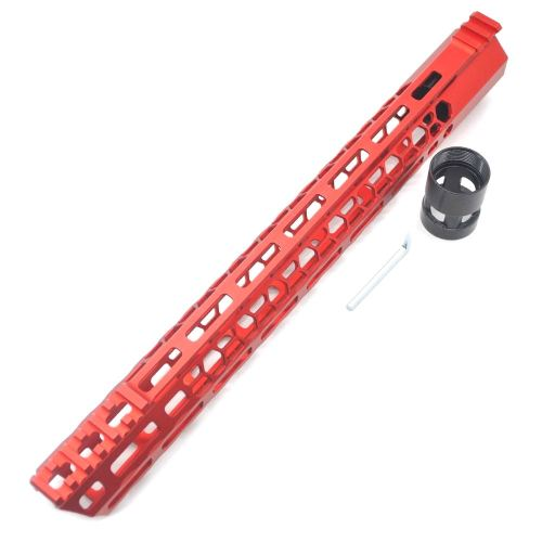 New Clamp style 15 inches red M-LOK free float AR15 M16 M4 rifle handguard with a curve slant cut nose fit .223/5.56 rifles