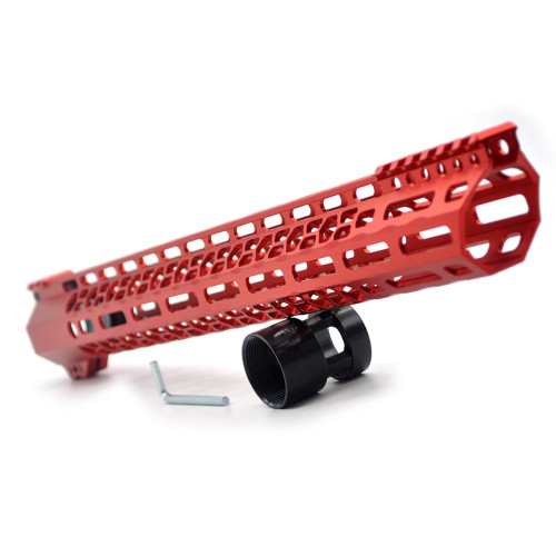 New Clamp style 17 inches red M-LOK free float AR15 M16 M4 rifle handguard with a curve slant cut nose fit .223/5.56 rifles