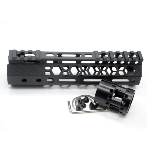 Aplus NSR style Black 7 inches M-LOK free float AR15 handguard mlok bevel edge fits .223/5.56 rifles with steel barrel nut