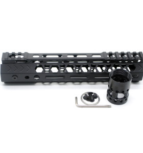 Aplus NSR style Black 9 inches M-LOK free float AR15 handguard mlok bevel edge fits .223/5.56 rifles with steel barrel nut