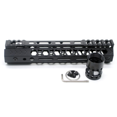 Aplus NSR style Black 9 inches M-LOK free float AR15 handguard mlok bevel edge fits .223/5.56 rifles with steel barrel nut