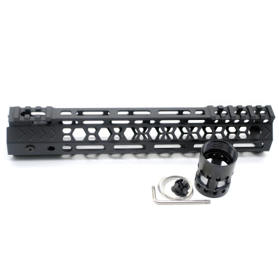 Aplus NSR style Black 10 inches M-LOK free float AR15 handguard mlok bevel edge fits .223/5.56 rifles with steel barrel nut