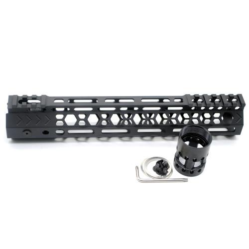 Aplus NSR style Black 10 inches M-LOK free float AR15 handguard mlok bevel edge fits .223/5.56 rifles with steel barrel nut