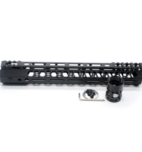 Aplus NSR style Black 12 inches M-LOK free float AR15 handguard mlok bevel edge fits .223/5.56 rifles with steel barrel nut