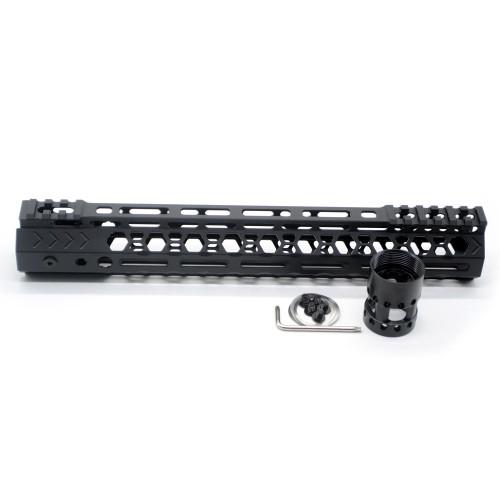 Aplus NSR style Black 12 inches M-LOK free float AR15 handguard mlok bevel edge fits .223/5.56 rifles with steel barrel nut