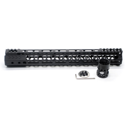 Aplus NSR style Black 13.5 inches M-LOK free float AR15 handguard mlok bevel edge fits .223/5.56 rifles with steel barrel nut