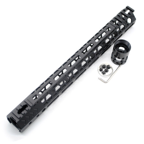 Aplus NSR style Black 13.5 inches M-LOK free float AR15 handguard mlok bevel edge fits .223/5.56 rifles with steel barrel nut