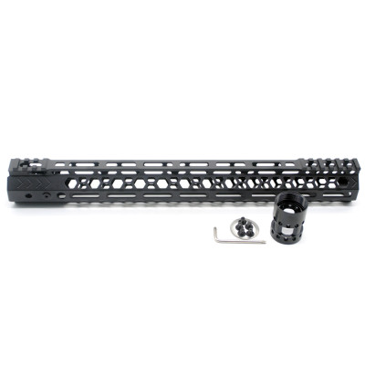 Aplus NSR style Black 15 inches M-LOK free float AR15 handguard mlok bevel edge fits .223/5.56 rifles with steel barrel nut