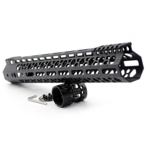 Aplus NSR style Black 15 inches M-LOK free float AR15 handguard mlok bevel edge fits .223/5.56 rifles with steel barrel nut