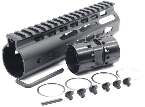 New NSR 7 Inch Length Black Free Floating Black KeyMod AR15 Handguard With Rail Mount Steel Barrel Nut
