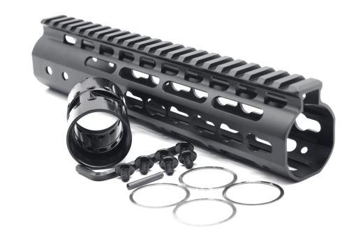 New NSR 9 Inches Length Black Free Floating Black KeyMod AR15 Handguard With Rail Mount Steel Barrel Nut