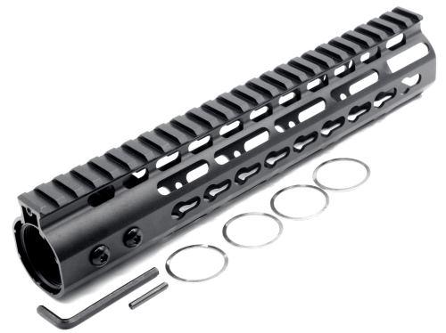 New NSR 10 Inches Length Black Free Floating Black KeyMod AR15 Handguard With Rail Mount Steel Barrel Nut