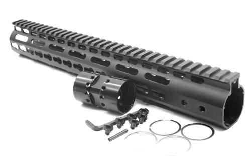 New NSR 13.5 Inches Length Black Free Floating Black KeyMod AR15 Handguard With Rail Mount Steel Barrel Nut