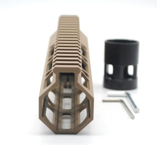 Clamp On TAN / Flat Dark Earth Tactical 9 inches M-LOK handguard for AR15 M4 M16 with Steel Barrel Nut fits .223/5.56 rifles