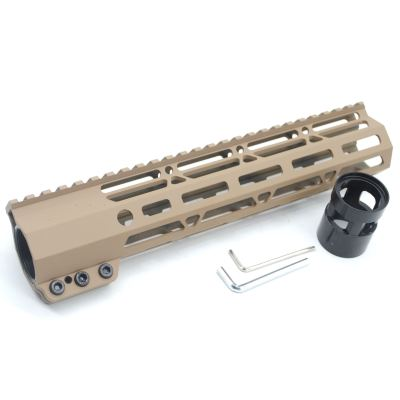 Clamp On TAN / Flat Dark Earth Tactical 10 inches M-LOK handguard for AR15 M4 M16 with Steel Barrel Nut fits .223/5.56 rifles