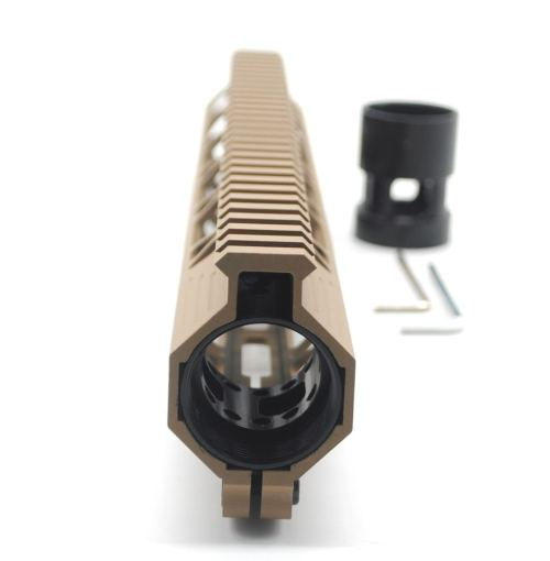 Clamp On TAN / Flat Dark Earth Tactical 12 inches M-LOK handguard for AR15 M4 M16 with Steel Barrel Nut fits .223/5.56 rifles