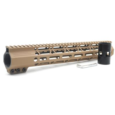Clamp On TAN / Flat Dark Earth Tactical 13.5 inches M-LOK handguard for AR15 M4 M16 with Steel Barrel Nut fits .223/5.56 rifles