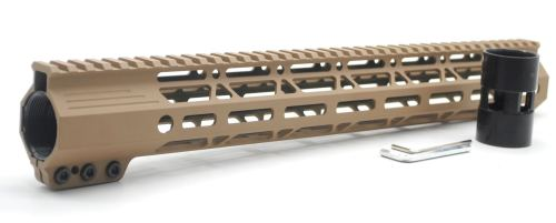 Clamp On TAN / Flat Dark Earth Tactical 15 inches M-LOK handguard for AR15 M4 M16 with Steel Barrel Nut fits .223/5.56 rifles