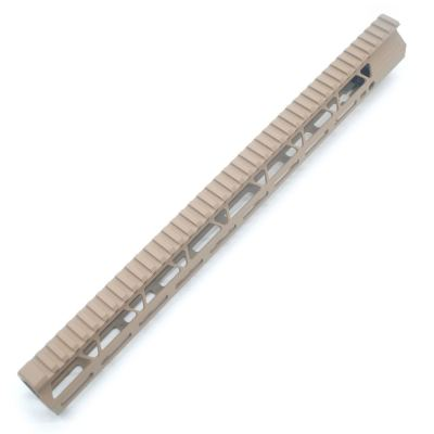 Clamp On TAN / Flat Dark Earth Tactical 17 inches M-LOK handguard for AR15 M4 M16 with Steel Barrel Nut fits .223/5.56 rifles