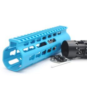 New NSR 7 Inch Length Blue Free Floating Black KeyMod AR15 Handguard With Rail Mount Steel Barrel Nut