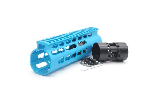 New NSR 7 Inch Length Blue Free Floating KeyMod AR15 Handguard With Rail Mount Steel Barrel Nut