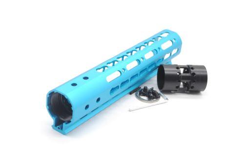 New NSR 9 Inch Length Blue Free Floating KeyMod AR15 Handguard With Rail Mount Steel Barrel Nut