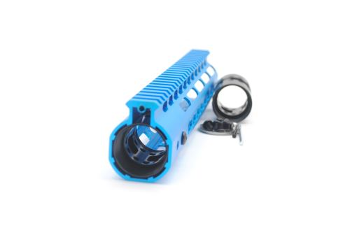New NSR 10 Inch Length Blue Free Floating Black KeyMod AR15 Handguard With Rail Mount Steel Barrel Nut
